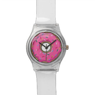 Cartoon Pink Donut With Sprinkles Watches