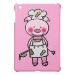 Cartoon pink pig chef