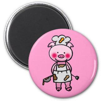 Cartoon pink pig chef 6 cm round magnet