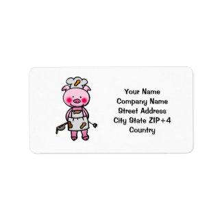 Cartoon pink pig chef address label