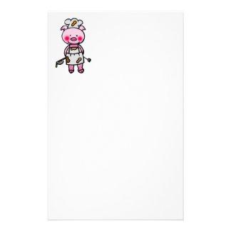 Cartoon pink pig chef customized stationery