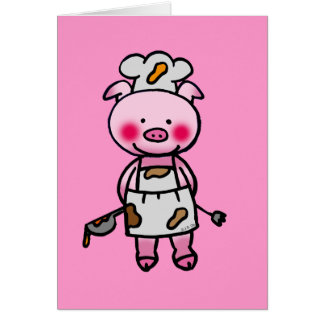 Cartoon pink pig chef greeting card