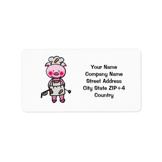 Cartoon pink pig chef label