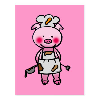 Cartoon pink pig chef postcard
