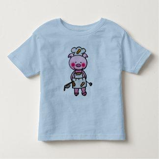 Cartoon pink pig chef toddler T-Shirt