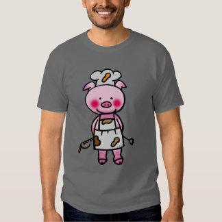 Cartoon pink pig chef tshirt