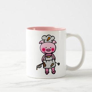 Cartoon pink pig chef Two-Tone coffee mug