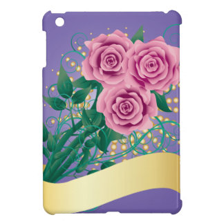 Cartoon pink roses case for the iPad mini