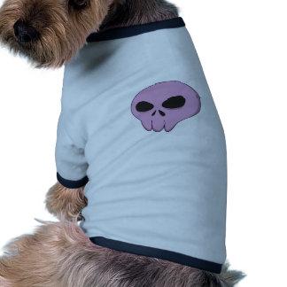 cartoon pink skull ringer dog shirt