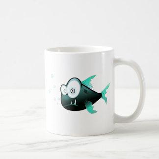 Cartoon Piranha Basic White Mug