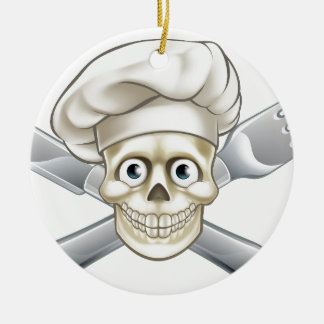 Cartoon Pirate Crossbones Chef Round Ceramic Decoration