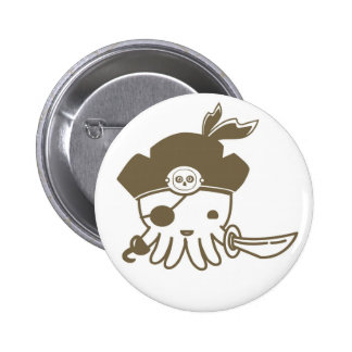 Cartoon Pirate Octopus Button
