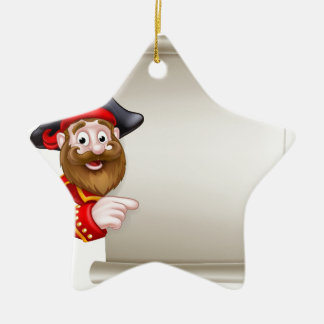 Cartoon Pirate Pointing at Scroll Sign Ceramic Star Decoration