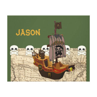 Cartoon Pirate Ship Personalize Canvas Print