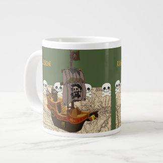 Cartoon Pirate Ship Personalize Large Coffee Mug
