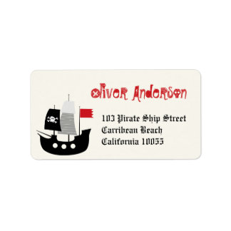 Cartoon Pirate Ship & Skeleton Birthday Labels