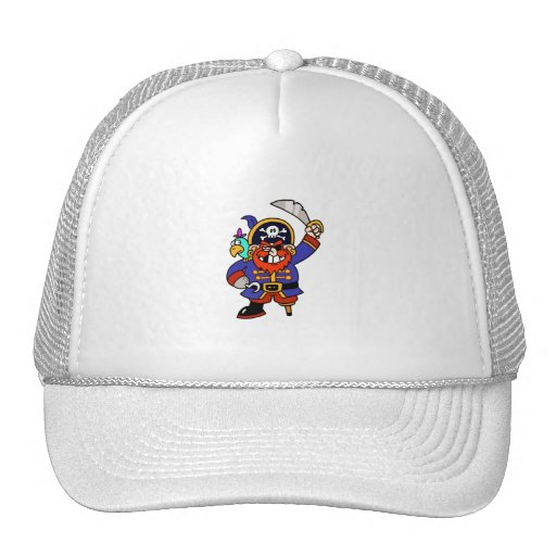 Cartoon Pirate With Peg Leg And Sword Trucker Hat