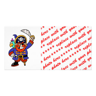 Cartoon Pirate With Peg Leg And Sword Picture Card