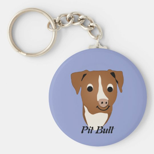 Cartoon Pit Bull Basic Round Button Key Ring