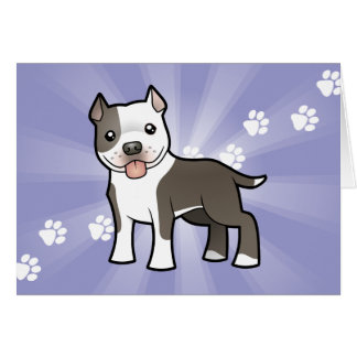 Cartoon Pitbull / American Staffordshire Terrier Card
