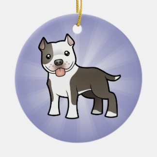 Cartoon Pitbull / American Staffordshire Terrier Christmas Ornament