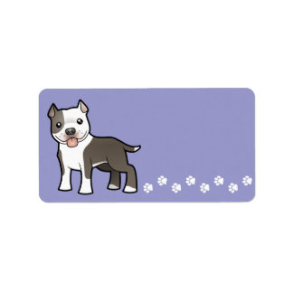 Cartoon Pitbull / American Staffordshire Terrier Label