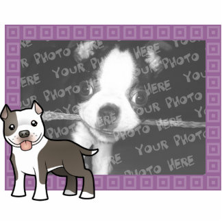 Cartoon Pitbull / American Staffordshire Terrier Photo Sculpture Magnet
