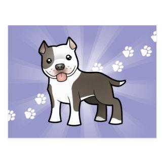 Cartoon Pitbull / American Staffordshire Terrier Postcard