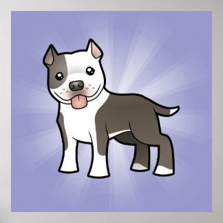 Cartoon Pitbull / American Staffordshire Terrier Poster