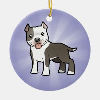 Cartoon Pitbull / American Staffordshire Terrier Round Ceramic Decoration