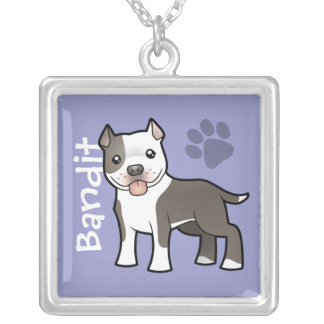 Cartoon Pitbull / American Staffordshire Terrier Silver Plated Necklace