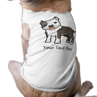 Cartoon Pitbull / American Staffordshire Terrier Sleeveless Dog Shirt