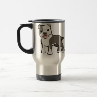 Cartoon Pitbull / American Staffordshire Terrier Travel Mug