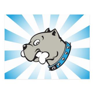 Cartoon Pitbull Head - Blue Beam Postcard
