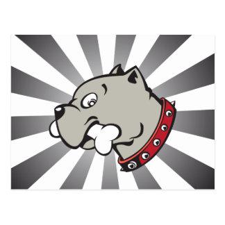 Cartoon Pitbull Head - Grey Beam Postcard