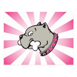Cartoon Pitbull Head - Pink Beam Postcard