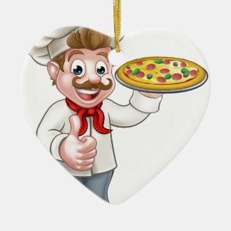 Cartoon Pizza Chef Character Mascot Ceramic Heart Decoration