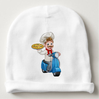 Cartoon Pizza Chef on Delivery Moped Scooter Baby Beanie