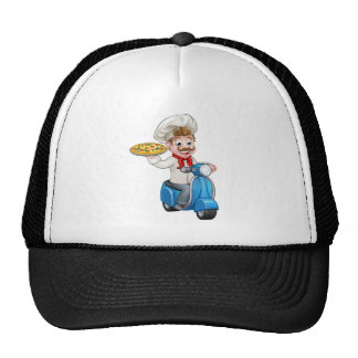 Cartoon Pizza Chef on Delivery Moped Scooter Cap