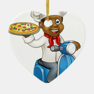 Cartoon Pizza Chef on Delivery Moped Scooter Ceramic Heart Decoration