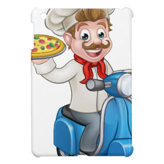 Cartoon Pizza Chef on Delivery Moped Scooter iPad Mini Covers