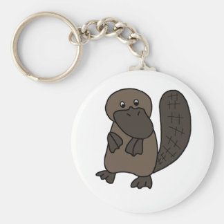 Cartoon Platypus Basic Round Button Key Ring