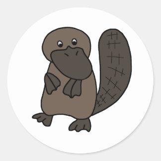 Cartoon Platypus Round Sticker