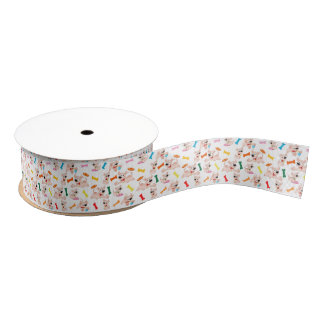Cartoon Playful Dogs Ribbon Grosgrain Ribbon