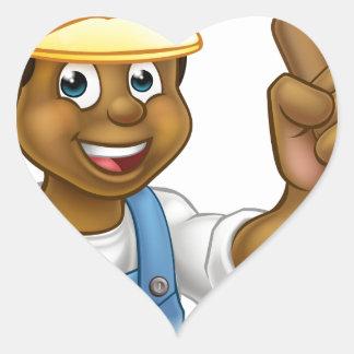 Cartoon Plumber Handyman Holding Punger Heart Sticker