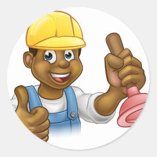Cartoon Plumber Handyman Holding Punger Round Sticker