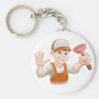Cartoon Plumber holding Plunger Keychain