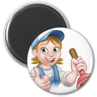 Cartoon Plumber Woman Holding Plunger 6 Cm Round Magnet