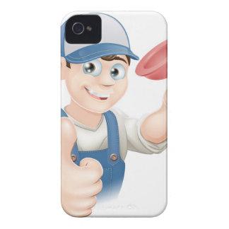 Cartoon plunger man iPhone 4 cover