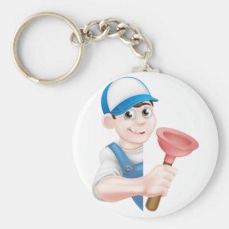 Cartoon Plunger Plumber Basic Round Button Key Ring